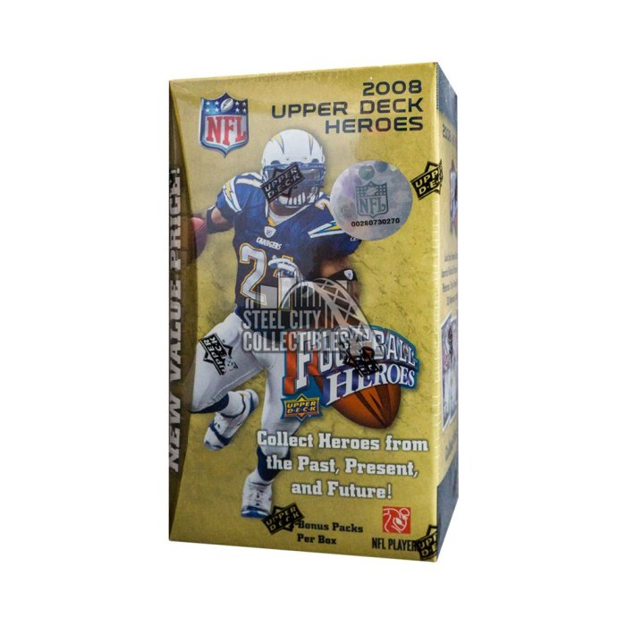 2008 UPPER DECK HEROES FOOTBALL 9CT BLASTER BOX
