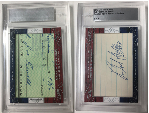 Bob Feller/Joe Sewell 2014 Leaf Sports Icons Cut Signatures Dual Cuts 5/9