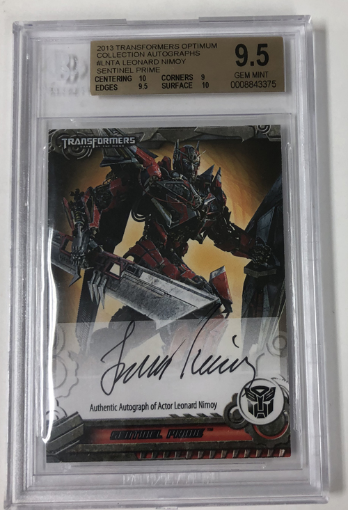 Leonard Nimoy 2013 Transformers Optimum Collection Autographs #LNTA Sentinel Prime 77/90 BGS 9.5